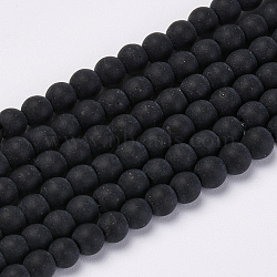 Transparent Glass Beads Strands, Frosted, Round, Black, 8mm, Hole: 1.5mm, about 42pcs/strand, 11.8 inches(X-GLAA-Q064-16-8mm)
