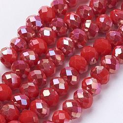 verre électrolytique rangées de perles, jade d'imitation, facettes, rondelle, rouge, 6x4.5 mm, trou: 1 mm; environ 100 perle / brin, 17.7 pouces
