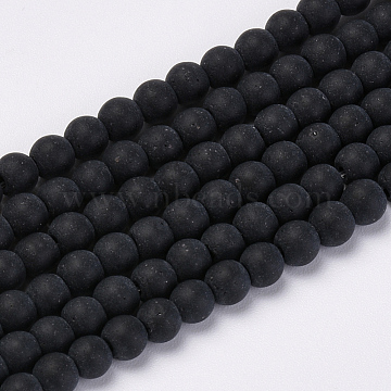 Transparent Glass Beads Strands, Frosted, Round, Black, 8mm, Hole: 1.5mm; about 42pcs/strand, 11.8 inches(X-GLAA-Q064-16-8mm)