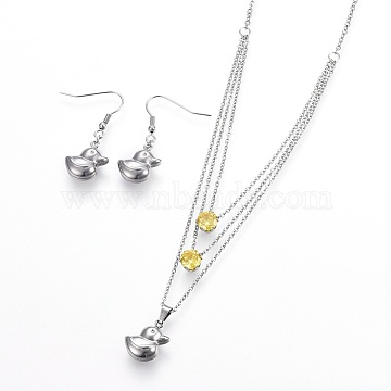 Yellow Stainless Steel Earrings & Necklaces