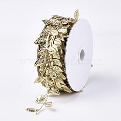 cordons de tissu, Accessoires d'ornement, feuille, verge d'or, 42 mm; sur 20 m / rouleau(FIND-T057-10H)