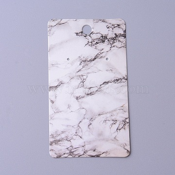 Cardboard Earring Display Cards, Rectangle with Marble Pattern, White, 9x5x0.04cm, Hole: 1.5mm(X-CDIS-F003-16A)