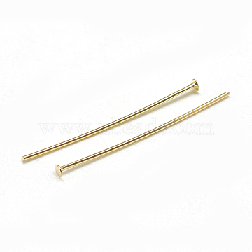 Brass Flat Head Pins, Real 18K Gold Plated, 30x0.8mm, Head: 2mm(X-KK-T032-092G)