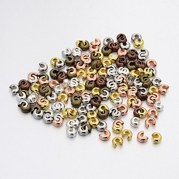 Iron Crimp Beads Covers, Mixed Color, 3mm In Diameter, Hole: 1.2~1.5mm(IFIN-X0031-3mm)