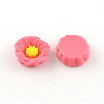 Resin Cabochons, Flower, PaleVioletRed, 18x18x5.5mm(X-CRES-S292-A01)
