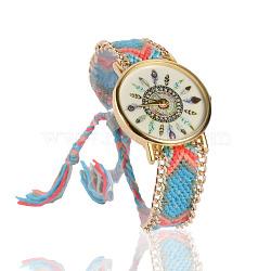 Tressés cordon en coton montres bracelet, avec des cadrans de montres en alliage, bleu ciel, 40x41mm, Cadran: 45x41 mm, boitier montre: 35 mm(WACH-G017-05)