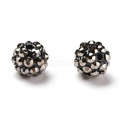 Chunky Resin Rhinestone Beads, Resin Round Beads, Gray, 12mm, Hole: 1.5~2mm(RESI-M019-13)