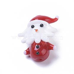 Handmade Lampwork Beads, Cartoon Father Christmas, Red, 22x18.2x10.4mm, Hole: 1.6mm(X-LAMP-I020-16)