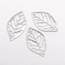 Iron Filigree Pendants, Leaf, Platinum, 23x13x1mm, Hole: 0.5mm(X-IFIN-E742-01P)