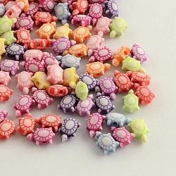 Ремесло стиль красочные акриловые бусины, черепаха, разноцветные, 10x6x4.5 мм, отверстие : 1.5 мм(X-MACR-Q157-M25)