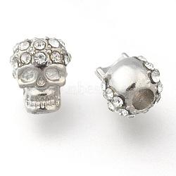 Zinc Alloy Beads, with Rhinestone, Halloween, Skull, Platinum, 12x8mm, Hole: 3mm(X-RB-H143-1)