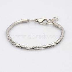 304 serpent en acier inoxydable de style européen bracelets chaînes, avec fermoir pince de homard, couleur inoxydable, 145x3mm(BJEW-N233-03)