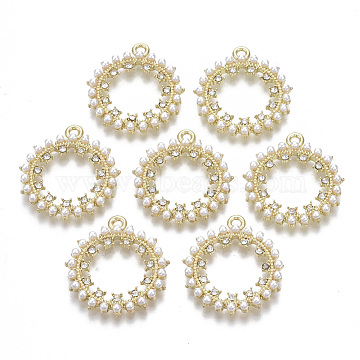 Alloy Pendants, with Crystal Rhinestone and ABS Plastic Imitation Pearl, Ring, Light Gold, 27x24x3.5mm, Hole: 1.6mm(PALLOY-T077-17)