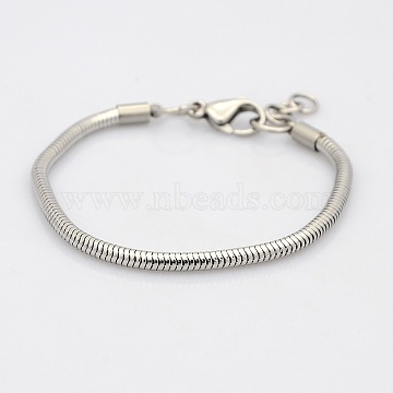304 Stainless Steel European Style Round Snake Chains Bracelets, with Lobster Claw Clasps, Stainless Steel Color, 145x3mm(BJEW-N233-03)