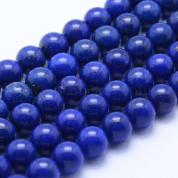 Natural Lapis Lazuli Beads Strands, Grade AA, Round, 10mm, Hole: 1mm; about 39pcs/strand, 15.7''(40cm)