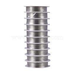 fil de bijoux de cuivre, plaqué argent, Jauge 26, 0.4 mm; 12 m / rouleau, 10 rouleaux / groupe(CWIR-S002-0.4mm-01)