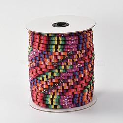 Cordes ethniques en tissu, cramoisi, 4 mm; environ 50 mètres / rouleau (150 pieds / rouleau)(OCOR-F003-4mm-13)