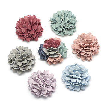 Handmade Imitation Leather Woven Costume Accessories, Flower, Mixed Color, 43~44x25~27mm(X-WOVE-Q064-15)
