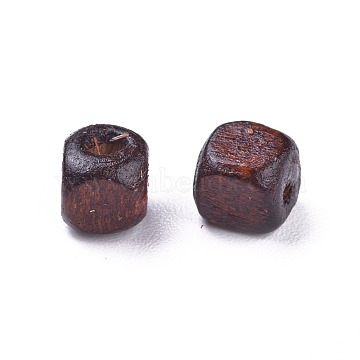 Dyed Natural Wood Beads, Cube, Nice for Children's Day Necklace Making, Lead Free, Coconut Brown, 5mm, Hole: 1.5mm, about 930pcs/50g(X-WOOD-S616-1-LF)