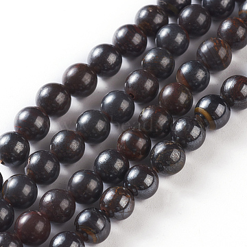 """Natural Tiger Iron Beads Strands, Round, 5mm diameter, hole: 0.5mm, about 64~69pcs/strand, 15.7""""~15.9 inches(40~40.5cm).(G-O181-15)"""