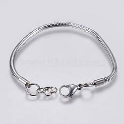 """Bricolage de bracelet chaîne serpent rond en 304 acier inoxydable, avec fermoir pince de homard, couleur inoxydable, 7-7/8"""" (20cm); 3mm, Trou: 4mm(STAS-I097-026-E)"""