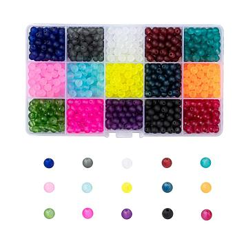 15 Colors Transparent Glass Beads, for Beading Jewelry Making, Frosted, Round, Mixed Color, 6mm, Hole: 1.3~1.6mm; about 70pcs/color, 15 Colors, 1050pcs/box(FGLA-X0001-04-6mm)