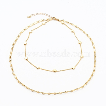 Brass Double Layer Necklaces, with Figaro Chains, Twisted Chains, Star Beads, Cubic Zirconia Charms and 304 Stainless Steel Lobster Claw Clasps, Golden, 13.58~19.68 inches(34.5~50cm)(NJEW-JN03144)