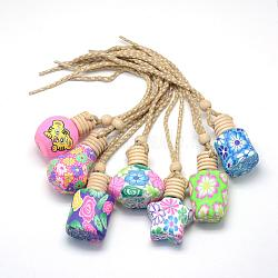 Glass Wishing Bottles, with Polymer Clay Covered and Wooden Plug, Mixed Style, Mixed Color, 240~270mm(AJEW-Q131-01)