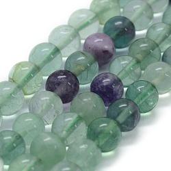 Chapelets de perles en fluorite naturel, rond, 8mm, trou: 0.8mm; environ 49 pcs/chapelet, 15.3'' (39 cm)(G-G763-06-8mm)