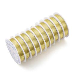 Fil de bijoux en cuivre, Plaqué longue durée, or clair, 0.6 mm; 5 m / rouleau(CWIR-Q006-0.6mm-G)