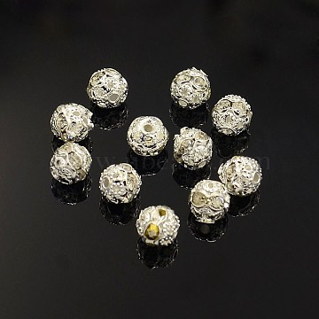 Brass Rhinestone Beads, Grade A, Silver Color Plated, Round, Crystal, 6mm, Hole: 1mm(X-RB-A011-6mm-01S)