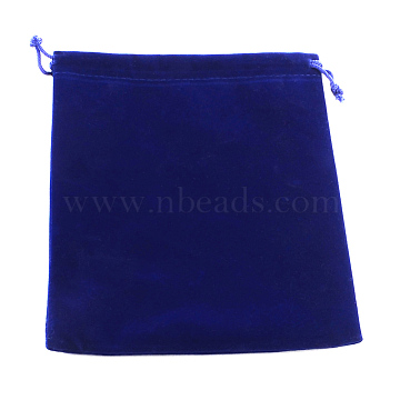 Sac de bijoux de velours, rectangle, bleu, 17x15 cm(X-TP-R004-02)