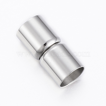 Smooth 304 Stainless Steel Magnetic Clasps, Column, Stainless Steel Color, 19x9mm, Hole: 8mm(STAS-G179-37P-8mm)
