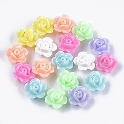 perles acryliques opaques, fleur, couleur mélangée, 12x12.5x7.5 mm, trou: 1.6 mm(X-MACR-S296-78)