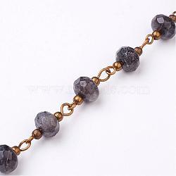 Faites à la main des chaînes de perles labradorite, non soudée, pour création de colliers bracelets, avec épingle à œil en laiton, bronze antique, 1 m / chapelet(AJEW-JB00268-01)