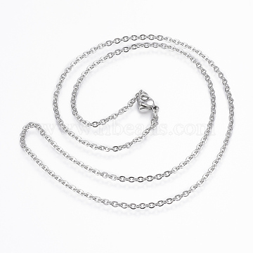 304 Stainless Steel Cable Chain Necklaces, with Lobster Claw Clasps, Stainless Steel Color, 17.7 inches(45cm); 10strand/bag(X-NJEW-K090-01P)