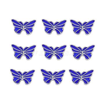 Silver Blue Butterfly Alloy+Enamel Beads