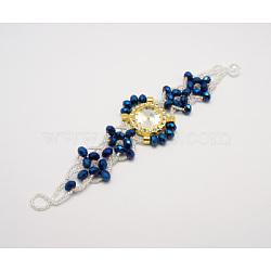 Verre de montre bracelets, avec des perles de rocaille et strass, bleu, taille: diamètre intérieur: environ 52 mm, largeur: environ 30~45 mm, longueur: environ 200 mm(X-WACH-H003-10)