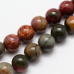 """Pierre naturelle picasso / brins de perles de jaspe picasso, rond, 6mm, trou: 1mm; environ 31 pcs/chapelet, 7.7""""(G-O155-02B-6mm)"""