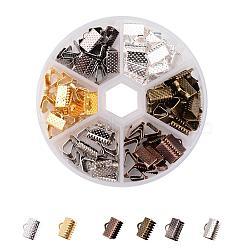 1 120 boîte pcs 6 extrémités du ruban couleurs de fer, couleur mélangée, 7x10 mm, trou: 2 mm; sur 20 pcs / compartiment(IFIN-JP0010-01)