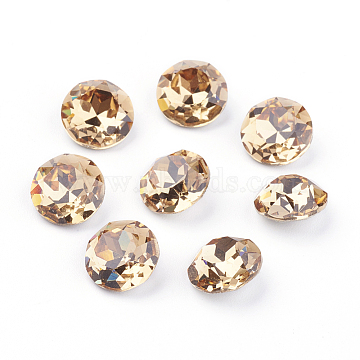 Pointed Back & Back Plated K9 Glass Rhinestone Cabochons, Grade A, Faceted, Flat Round, Light Colorado Topaz, 8x4.5mm(X-RGLA-J012-8mm-246)