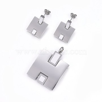 White Rectangle Stainless Steel Stud Earrings & Pendants