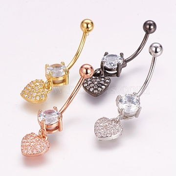 Piercing Jewelry, Brass Micro Pave Cubic Zirconia Belly Rings, with 304 Stainless Steel Pins, Heart, Mixed Color, 33mm; Pin: 1.5mm(ZIRC-J017-18)