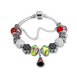 """Verre perles bracelets européens, avec de l'émail cloche noël breloque balancent et argenté chaîne en laiton, colorées, 7-7/8"""" (200 mm)(BJEW-BB18638)"""