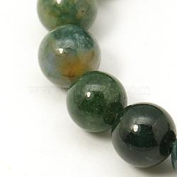 """Chapelets de perles en pierre gemme naturelle, agate, rond, olivedrab, environ 8 mm de diamètre, Trou: 1mm, 43 pcs / chapelet, 16.1""""(G-I007-8mm-04)"""