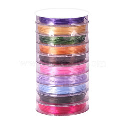 Flat Elastic Crystal String, Elastic Beading Thread, for Stretch Bracelet Making, Mixed Color, 0.8mm; about 10m/roll(EW-YW0001-0.8mm-04)