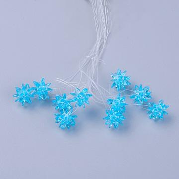 13mm DeepSkyBlue Flower Glass Beads