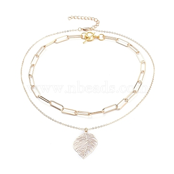 Pendant & Chain Necklaces Sets, with Brass Cable Chains & Links, Iron Paperclip Chains & Chain Extender, Alloy Lobster Claw Clasps & Toggle Clasps, Leaf, Golden, Chain Necklaces: 15.98 inches(40.6cm), Pendant Necklaces: 18.11 inches(46cm)(X-NJEW-JN02759)