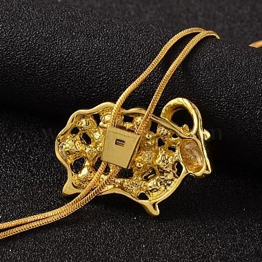 Sheep Long Adjustable Alloy Rhinestone Lariat Necklaces(NJEW-F194-04G)-4