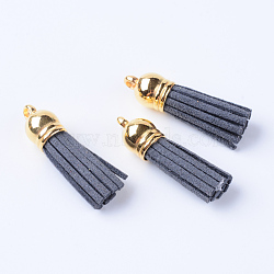 Décorations de pendentif pompon en daim, avec extrémités de cordon en plastique ccb, grises , 35~37x10mm, Trou: 2.5~3mm(X-FIND-T002-B22)
